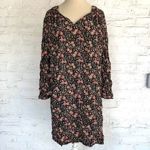 Old Navy tunic blouse black brown floral pattern L